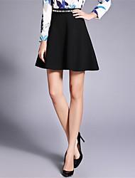 Übergrössen Röcke,A-Linie einfarbig Perlenbesetzt,Lässig/Alltäglich Arbeit Ausgehen Niedlich Street Schick Vintage Mittlere HüfthöheÜber