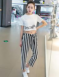 мы моделируем реальные звезды из европейских станций стильных писем печатных короткими рукавами футболки полосатые женщина девять очков