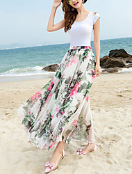 Women's Beach Holiday Midi Skirts,Boho Swing Chiffon Floral Spring Summer