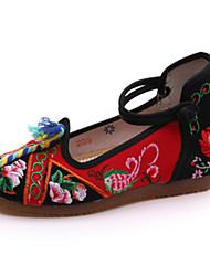 Women's Oxfords Spring Summer Fall Winter Comfort Novelty Embroidered Shoes Canvas Outdoor Casual Athletic Flat Heel Buckle FlowerRed