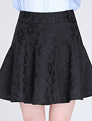 Plus Size A Line Solid Lace Jacquard Skirts,Going out Casual/Daily Sexy Cute High Rise Above Knee Zipper Polyester Micro-elastic Spring