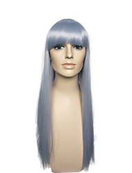 Capless Long Straight Wig Synthetic Fiber Blue With Air Bangs Cosplay Wigs Costume Wig