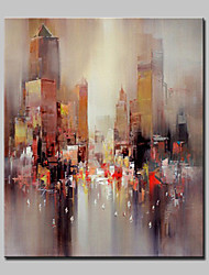 Hand Painted Modern Abstract City Oil Painting On Canvas Wall Art Picture For Home Decoration Ready To Hang
