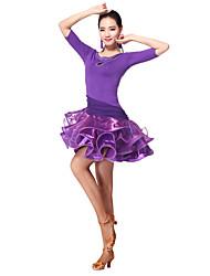 Latin Dance Dresses Women's Training Milk Fiber 2 Pieces 3/4 Length Sleeve Natural Dress Shorts