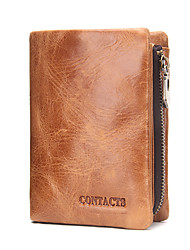 Contacts Genuine Leather Bifold Trifold Card Holder Zipper Coin Purse Wallet Casual Office & Career-Wallet-Cowhide-Unisex