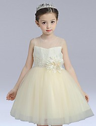 Ball Gown Short / Mini Flower Girl Dress - Organza Sleeveless Jewel with Flower(s) Lace
