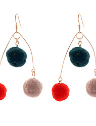 Lureme Cute Handmade Three-Ton Pom Pom Earrings Dangle Earrings Light weight