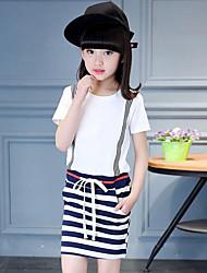 Girl's Striped Patchwork Dress,Cotton Summer Short Sleeve