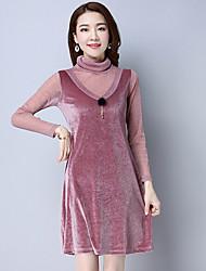 Femme Velours Gaine Robe Décontracté/Quotidien Vintage,Couleur Pleine Col Arrondi Midi Manches Longues Bleu Rose Noir Vert ArgentCoton