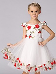 Ball Gown Knee-length Flower Girl Dress - Organza Sleeveless Off-the-shoulder with Flower(s) Pattern / Print