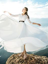 firmar la primavera 2017 nueva venta de gasa en un gran vestido bohemio de vacaciones con la correa