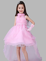 Ball Gown Asymmetrical Flower Girl Dress - Cotton Organza Satin Sleeveless Halter with Flower(s) Pearl Detailing Sash / Ribbon