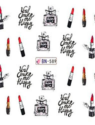 1pcs Cute Lipstick Perfume Design Nail Art Water Transfer Decals Makeup Cosmetic Nail Art Design BN589