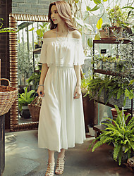 Women's Going out Beach Holiday Vintage Boho Sophisticated Summer Blouse Pant Suits,Solid Off Shoulder Short Sleeve Pleated Polyester