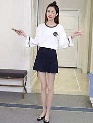 2017 весной новые корейские женщины рыхлая тонкая длинные рукава из двух частей костюма моды