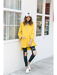 Sign 2017 spring new art Fan Hooded hedging loose sweater College Girls long section