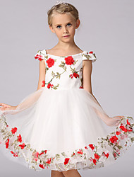 Princess Knee-length Flower Girl Dress - Chiffon Cotton Scoop with Appliques