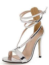 Sandalen-Kleid-PU-Stöckelabsatz-Club-Schuhe-Silber