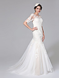 Mermaid / Trumpet Jewel Neck Court Train Lace Tulle Wedding Dress with Appliques Button by LAN TING BRIDE®