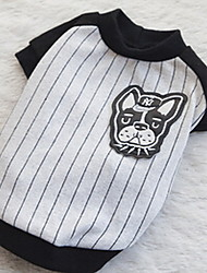 Dog Coat Black White Dog Clothes Winter Stripe Sports