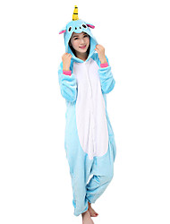 Kigurumi Pajamas Flying Horse Leotard/Onesie Festival/Holiday Animal Sleepwear Halloween Red Light Purple Pink Blue Solid PatchworkCoral