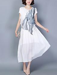 Damen Chiffon Swing Kleid-Ausgehen Party/Cocktail Übergröße Boho Street Schick Druck Patchwork Rundhalsausschnitt Midi KurzarmWeiß