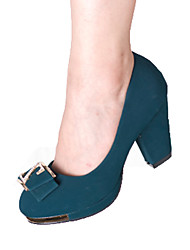 Women's Heels T-Strap Suede Spring Summer Casual T-Strap Button Low Heel Chunky Heel Black Ruby Green 3in-3 3/4in