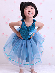 Performance Dress Children's Ballet Dance Dress Polyester/Cotton Splicing 1 Pieces Sleeveless Dress Blue Kid's Dancewear