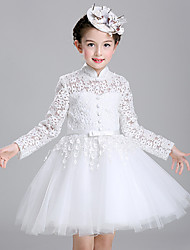 Ball Gown Knee-length Flower Girl Dress - Cotton Lace Tulle High Neck with Buttons Sash / Ribbon