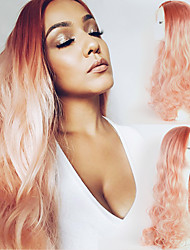 Peach Pink Ombre Synthetic Hair Body Wave Lace Front Wig Long Natural Hairline two Tones Hairstyle Heat resistant for women