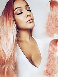 розовый персик ломбера синтетическое тело волна волос парик фронта шнурка естественного волосяного покрова длинные два тона прическа