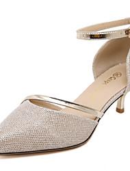 Sapatos de Dança(Prateado Dourado) -Feminino-Personalizável-Latina