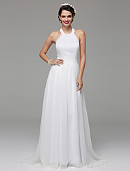 Lanting Bride® A-line Wedding Dress Open Back Floor-length Halter Lace Tulle with Draped Lace