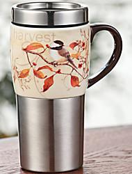Vintage Drinkware, 450 ml Decoration Heat-Insulated Stainless Steel Ceramic Juice Milk Coffee Mug