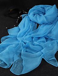 Mignon Soirée Décontracté Mousseline de soie Femme Écharpe,Couleur Pleine Rectangle,Noir Blanc Bleu Rose Jaune Gris Orange
