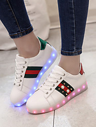 Girls' Sneakers Spring Fall Winter Light Up Shoes Comfort PU Outdoor Athletic Casual Flat Heel Lace-up Walking