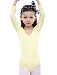 Ballet Leotards Children's Training Cotton 1 Piece Long Sleeve Natural Leotard