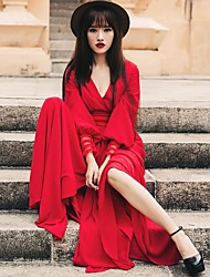 robe sexy manches v-cou robe lanterne taille robe rouge
