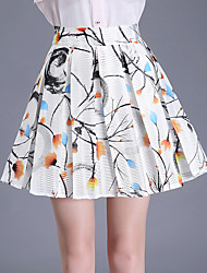 Plus Size A Line Print Pleated Skirts,Going out Casual/Daily Cute High Rise Above Knee Zipper Polyester Micro-elastic Summer