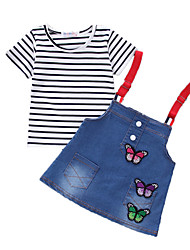Girls' Casual/Daily Sports Print Sets,Cotton Summer Short Sleeve Clothing Set