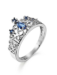 Ring Zircon Cubic Zirconia Steel Simple Style Light Blue Jewelry Daily 1pc