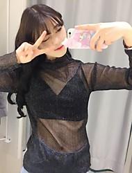 знак яркие сетки марлевую тонкий срез с длинным рукавом дна рубашки женский взгляд и половина высокий воротник тонкий сексуальный верхний