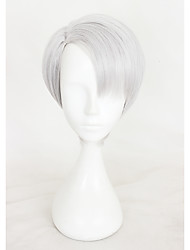 14inches court yuri gris argent sur victor glace Nikiforov animé synthétique perruque cosplay cs-317a