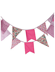3.2m 12Flags Pink Pattern Banner Pennant Cotton Bunting Banner Booth Props Photobooth Birthday Wedding Party Decoration