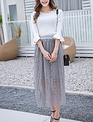 Women's A Line Solid Tulle Skirts,Casual/Daily Simple High Rise Midi Elasticity Polyester Stretchy Spring Summer