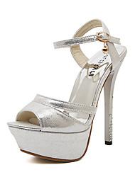sandálias Primavera-Verão sapatos clube queda escritório sintética&festa de carreira&vestido de noite fivela de prata do ouro