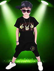 Boy's Cotton Fashion Pure Cotton Round Collar  Printing Short Sleeve Harlan Shorts Street Dance Eng Two-Piece Outfit