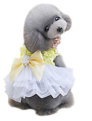 Dog Tuxedo Dress Yellow Pink Dog Clothes Summer Bowknot Cute Fashion Wedding