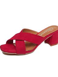 Damen Sandalen Komfort PU Frühling Normal Komfort Flacher Absatz Schwarz Rot Grün Flach