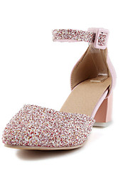 Women's Sandals Spring Summer Fall Club Shoes Glitter Customized Materials Wedding Party & Evening Dress Chunky Heel BowknotPink Silver